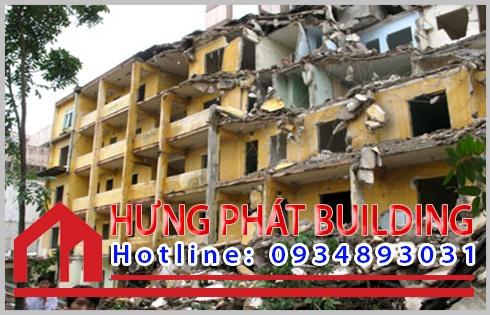 Quy trình phá tháo dỡ nhà cao tầng cũ tại công ty Hưng Phát.